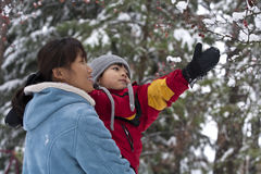 Mother and son in winter, Stock Images