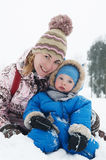 Mother and son in winter. Closeup portrait of mother and son in winter outdoors Stock Photos