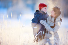 Mother and son winter portrait Stock Photo