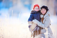 Mother and son winter portrait Royalty Free Stock Images