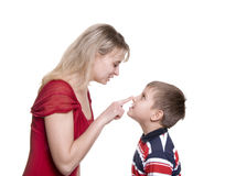 Mother with son on wite Royalty Free Stock Photos