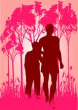 Mother and son in woods. Illustration vector illustration