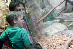 Mother with son in zoo Royalty Free Stock Photos