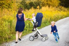 Mother and sons enjoying life together outside Royalty Free Stock Image