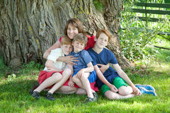 Mother and sons in a park Royalty Free Stock Photography