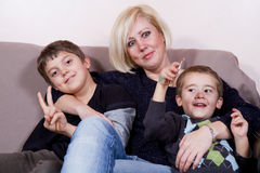 Mother and sons Stock Images