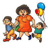 Mother and sons walking. Mother and two sons walking together, little son holds balloons Stock Images