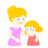 Mother soothes crying daughter  Stock Images
