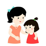 Mother soothes crying daughter kind mom soothes Royalty Free Stock Image