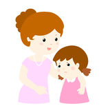 Mother soothes crying daughter  Royalty Free Stock Image