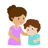 Mother soothes crying son  Stock Photography