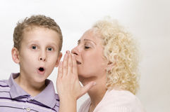 Mother speaks to her son near Royalty Free Stock Photos