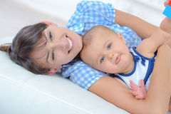 Mother spending quality time with baby Stock Photo