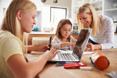 Mother spending time with daughters at home Royalty Free Stock Image