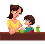 Mother spoon feeding her little daughter sitting on the floor. Mother spoon feeding her little daughter sitting at the table, cartoon vector illustration Stock Image
