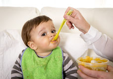 Mother with spoon porridge feeding sweet little son in messy bib mush stains Stock Image