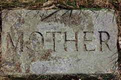 'Mother' stone marker. Carved gravestone marker royalty free stock images