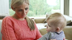 Mother Suffering From Post Natal Depression stock footage