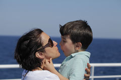 Mother and sun enjoying ride on a ferry Stock Image