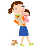 Mother with a supermarket bag and a baby Royalty Free Stock Image