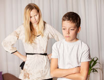 Mother swears by son Royalty Free Stock Images