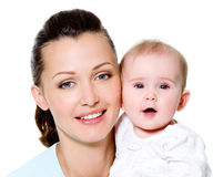 Mother with sweet newborn child Royalty Free Stock Photography