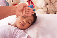 Mother take care her son, little boy Sick Stock Photos