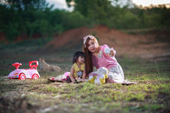 Mother take photo by mobile phone Royalty Free Stock Photo