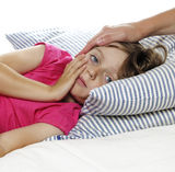 Mother Takes Care Of The Sick Child Stock Photos