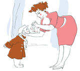 Mother taking care of a son graphic illustration. Graphic illustration of a mother taking care of her child royalty free illustration