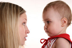 Mother talk with baby Royalty Free Stock Images