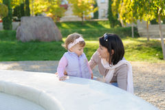 Mother Talking with Daughter Stock Photo