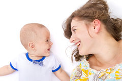 Mother talks with her baby boy Royalty Free Stock Image