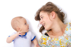 Mother talks with her baby boy Royalty Free Stock Photos