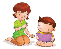 Mother taught son reading. Mom teaches son reading book Royalty Free Stock Photography