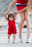 Mother teaches daughter to walk Royalty Free Stock Photo