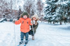 Free Mother Teaches Little Son Boy 3-5 Years Old, Emotions Joy, Fun, Smile Happiness, Skiing In Winter, Woods, On Vacations Stock Image - 158163771
