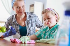 Mother teaching cleaning Stock Image