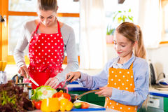 Mother teaching daughter cooking at home Royalty Free Stock Images