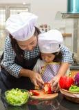 Mother teaching daughter making salad. In kitchen Stock Image