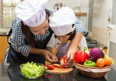 Mother teaching daughter making salad. In kitchen Stock Photography