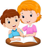 Mother teaching her child. Illustration of mother teaching her child Royalty Free Stock Image