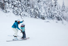Mother Teaching her Child to Ski at Mont-Tremblant Stock Images