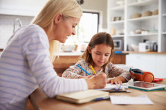 Mother teaching her daughter at home Royalty Free Stock Photo