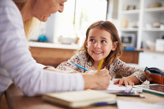 Mother teaching her daughter at home Stock Photography