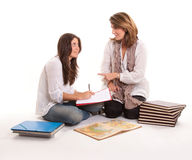 Mother and teenage daughter at homework Stock Photo