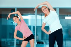 Mother and teenage girl at sports club Royalty Free Stock Images