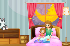Mother telling bedtime story at night. Illustration Royalty Free Stock Images