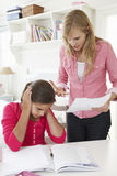 Mother Telling Daughter Off For Bad School Report Stock Images