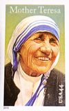 Mother Teresa, gedacht in der US-Briefmarke Stockfotografie